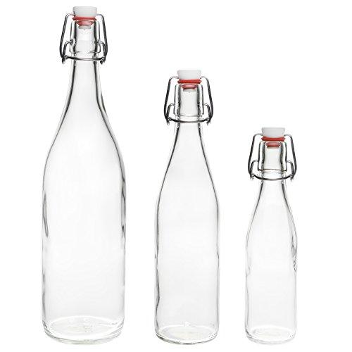 slkfactory 2,4,6 oder 10 x 750ml Bügelflasche Bügelverschlussflasche Leere Glasflasche mit Bügelverschluss Weinflasche Schnapsflasche Essig Öl Glasflaschen 0,75L (10 Stück)