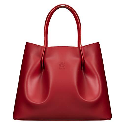 ROSA LOU FIRENZE Damen Leder Tasche - Shopper Made in Italy - Groß Schultertasche - Designer und Elegant Handtasche (Rot)