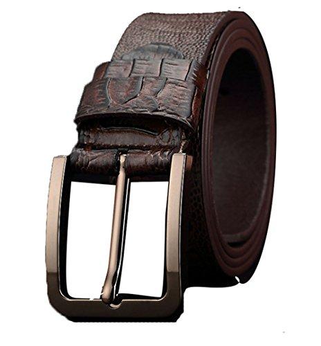 Boowhol-Luxus exklusive Krokodilleder Herren Gürtel Mode Dornschließe Leder breite Gürtel (Braun)