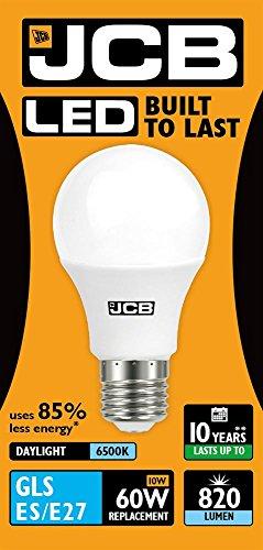 JCB 10 W = 60 W LED GLS lamp Opal ES E27 6500 K daglicht 820 lm (S10990)