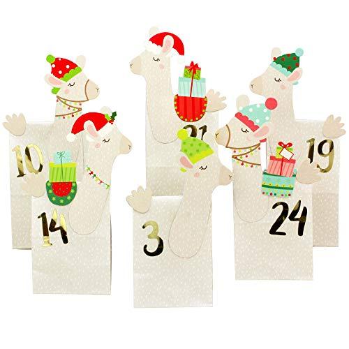 Papierdrachen Fai da Te Advent Calendar - premette Lama - 24 a Motivi Bianchi Sacchetti di Carta per Il riempimento - Natale e l'Avvento 2019