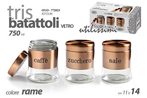 GICOS IMPORT EXPORT SRL Set 3 contenitori Tris barattoli barattolini Cucina in Vetro e Acciaio Colore Rame 11 * 14 cm 750 ml Sale-Zucchero-caffè OYO-772023