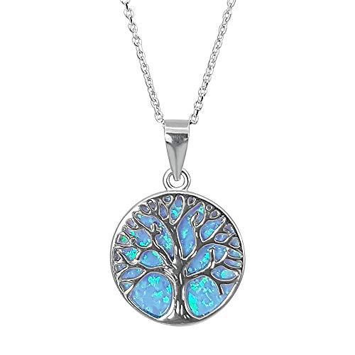 Kiara Jewellery - Cadena de corte diamante chapada en rodio de aproximadamente 46 cm con colgante de plata de ley 925 chapado en rodio con diseño de árbol de la vida sobre un disco de ópalo azul