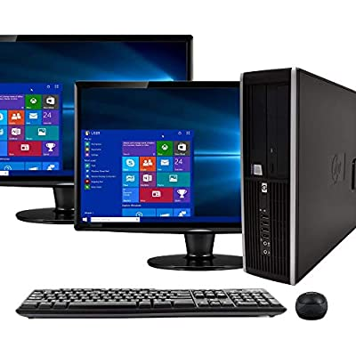 "HP Compaq 6200 Pro PC Desktop Computer, Intel i5-2400 3.1GHz, 8GB RAM, 500GB HDD, Windows 10 Pro, Dual 17"" LCDs, Wireless Keyboard & Mouse, New 16GB USB Flash Drive, USB WiFi & Bluetooth (Renewed)"