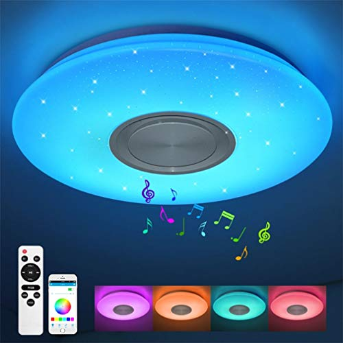 LED Deckenleuchte 24W Durchmesser 40CM, Deckenlampe mit Lautsprecher, Fernbedienung und APP-Steuerung, RGB Farbwechsel, dimmbar, Sternenhimmel Lampe X820Y-24W-LY