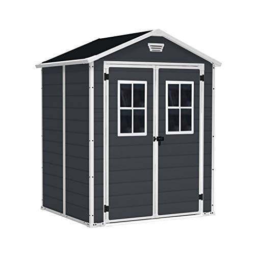 Keter 12-938205 Cottage and Garden Shed Premium Resin 65Dd Ant, Anthracite, 185 x 152 x 226 cm