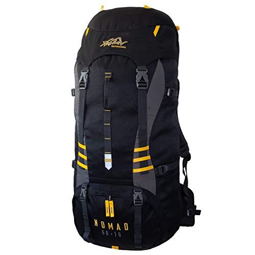 Tashev Outdoors Nomad Trekkingrucksack Wanderrucksack Damen Herren Backpacker Rucksack groß 60l Plus 10l (Hergestellt in EU) (Schwarz & Gelb)