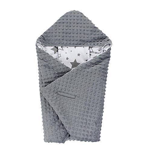 TupTam Einschlagdecke 5 Punkt Gurt für Babyschale - Winter, Farbe: Sterne Grau Weiß/Dunkelgrau, Größe: ca. 75 x 75 cm