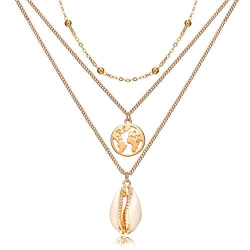N/X Collar de Mujer Collares y Colgantes de Cristal Multicapa para Mujer Collar de Gargantilla de Oro con Encanto Vintage Joyería Bohemia