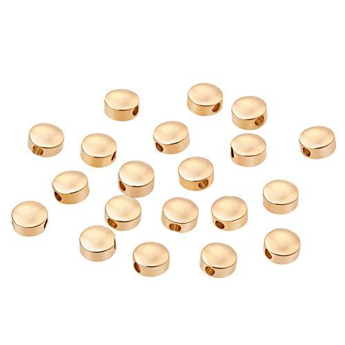 BENECREAT 20 STUCKE 18 Karat Gold uberzogene Perlen Metallperlen fur DIY Schmuckherstellung und andere Kunsthandwerk - 5x3mm, Flache runde Form