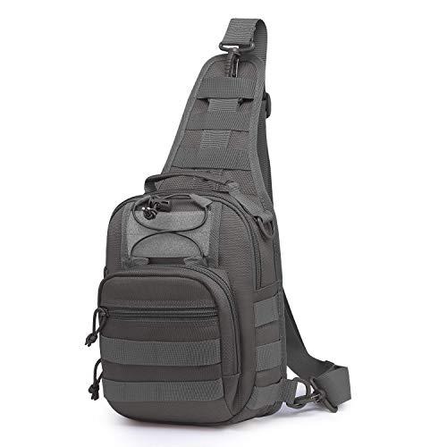 Wind Took Schultertasche Taktische Tasche MOLLE Tactical Sling Bag Multipurpose Daypack Crossbody Brusttasche Crossbag für Sport Wandern Reisen, Grau, M (für 9,7 inch iPad)