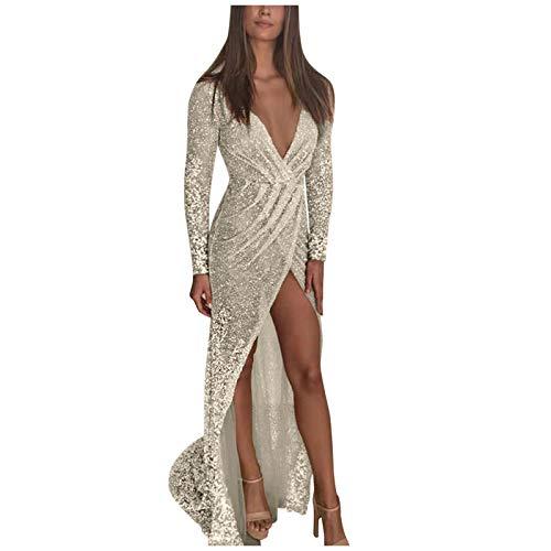 URIBAKY Frauen Elegant Formale Party Kleider,Damen Abendkleid Lang,Schöne Festliche Kleider Sexy Brautkleid V-Ausschnitt Split Light Long Slim Kleid