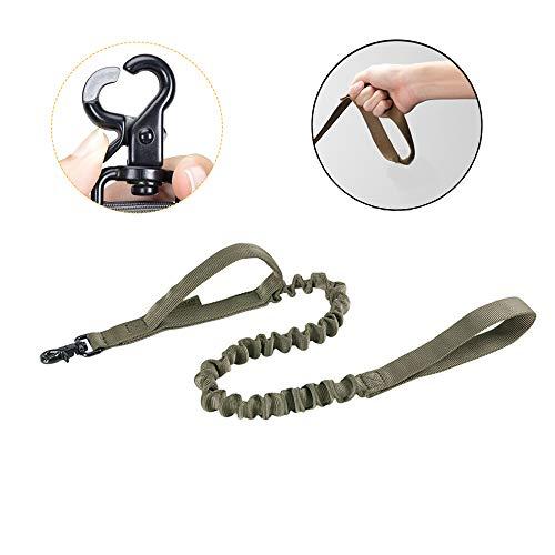 EXCELLENT ELITE SPANKER Tactical Bungee Hundeleine Militär Polizei Hund Training Leine Seil Seil mit 2 Kontrollgriffen(Olivgrün)