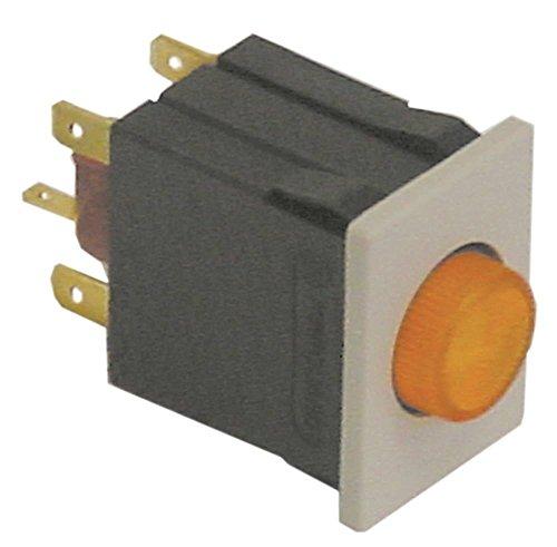 Palux Druckschalter für Spülmaschine 440078, 440086, 440094, 354392, 353167 250V 2NO gelb Anschluss Flachstecker 6,3mm 2-polig