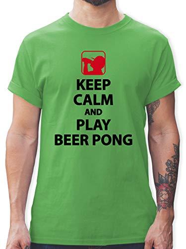 Festival - Keep Calm and Play Beer Pong - L - Grün - t-Shirt Herren Festival - L190 - Tshirt Herren und Männer T-Shirts