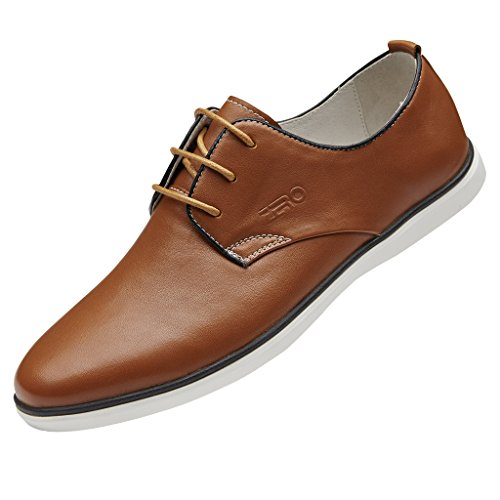 ZRO Men's Leather Round Toe Oxfords Lace Up Casual Shoes BROWN US 8.5