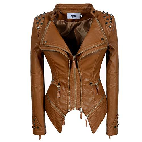 Giacca Corta da Donna in Pelle PU, Rivetto Tasche con Cerniera, Biker Giacca per l'autunno e l'inverno Biker Motocicletta Giacchetto Women Leather Jacket (6 Colori),Brown,M