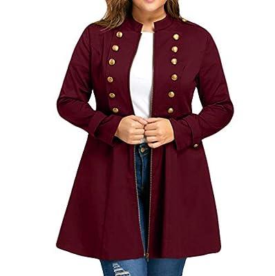 DongDong?Women's Retro Double-Breasted Coat,Fashion Vintage Plus Size High Waist Swing Zipper Windbreaker Jacket Wine Red from DongDong