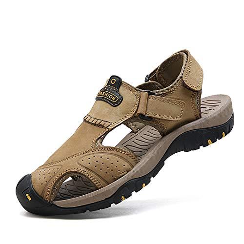 Sandalias de cuero para hombre Sandalias clásicas Sandalias de playa Zapatos de verano para Playa Sandalias al aire libre Zapatos para caminar Khaki 9.5