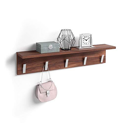 Mobili Fiver, Appendiabiti da Parete, Rachele, da 80 cm, Noce Canaletto, Nobilitato/Alluminio, Made in Italy, Disponibile in Vari Colori