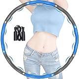 Hula Hoop zur Gewichtsreduktion, Hula Hoop Reifen für Erwachsene, mit Schaumstoff Abnehmbarer Fitness Hoola Hoop, Einstellbares Beschwerter Hula-Hoop mit Seilspringen für Fitness (Blau +...