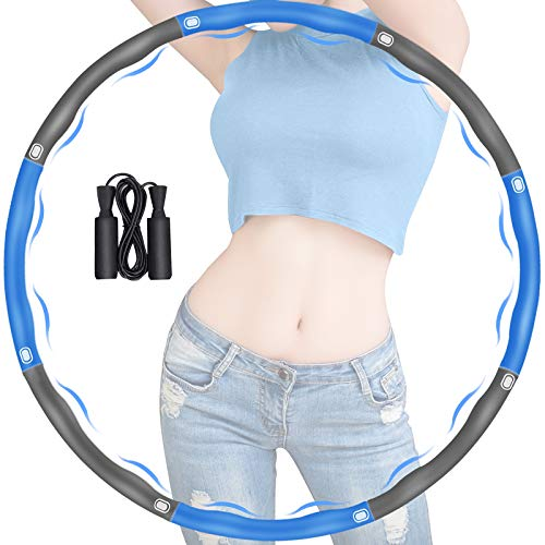 Gkodeamig Exercise Hoop, Hula Hoop Reifen Erwachsene zur Gewichtsabnahme, 8 Abschnitte mit Schaumstoff Abnehmbarer Reifen Hoop, Einstellbares Hoop-Reifen mit Seilspringen für Fitness (Blau + Grau)