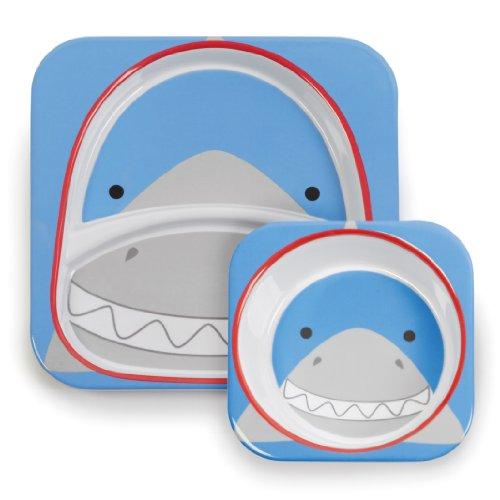Skip Hop 252217 Zoo-Melaset-Shark Collection Mealtime Ensemble d'assiettes pour enfant Motif requin