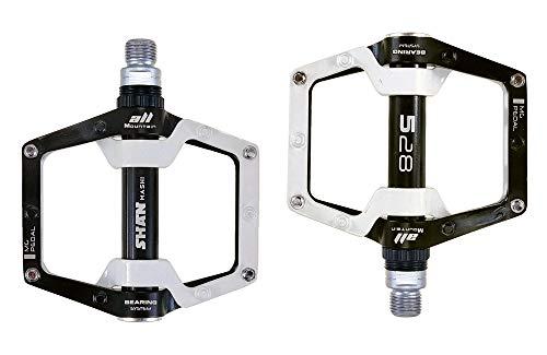 QYWSJ Pedal de Plataforma de Aluminio, Pedal de Bicicleta MTB, Rodamiento CNC + Eje CR-MO, para Bicicletas de Carretera Mountain BMX Accesorios con Textura de Metal
