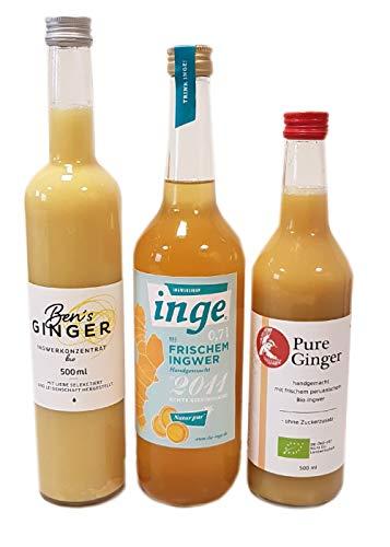 Probierset Ingwer Getränke 3 Flaschen Die Inge Ingwersirup 0,7l, Ben's Ginger Ingwerkonzentrat 0,5l, Pure Ginger Bio-Ingwerkonzentrat 0,5l
