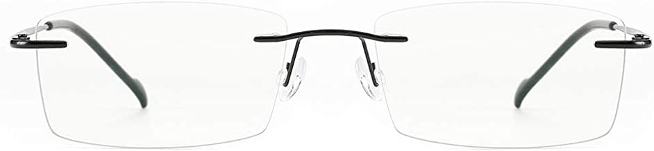 Cyxus Titanium Half Rimless Lightweight Glasses Frame, Blue Light UV Blocking Clear Lens Eyeglasses (8602T01,Black)