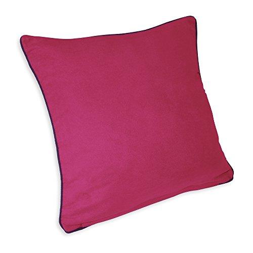 Kissenhülle Deko Kissen Wildleroptik Kissenbezug mit Paspel (pink lila Rand, 50x50)