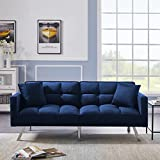 Velvet Futon Sofa Bed with Two Pillows, Convertible Sleeper Sofa Couch with 3 Angle Adjustable Backrest, Modern Loveseat with 6 Metal Legs for Living Room, Bedroom (Blue)