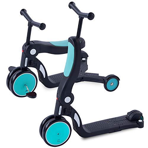 [1年保証] MRG 5way キッズスクーター 3輪 キックボード 子供用 幼児用 シート 折りたたみ ブレーキ付 三輪車 3輪車 2歳 から 6歳 ミニ キッズバイク トレーニングバイク 乗り物 おもちゃ 乗用玩具 (ブルー)