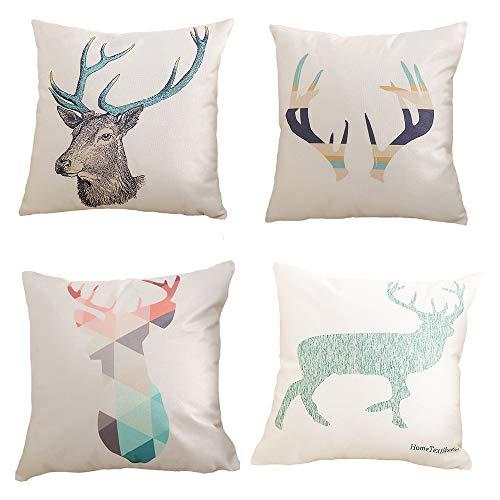 AE Juego de 4 fundas de cojín de lino nórdico de cuerno de ciervo para el hogar y la oficina, fundas de almohada decorativas de 45 x 45 cm, juego de 4 unidades