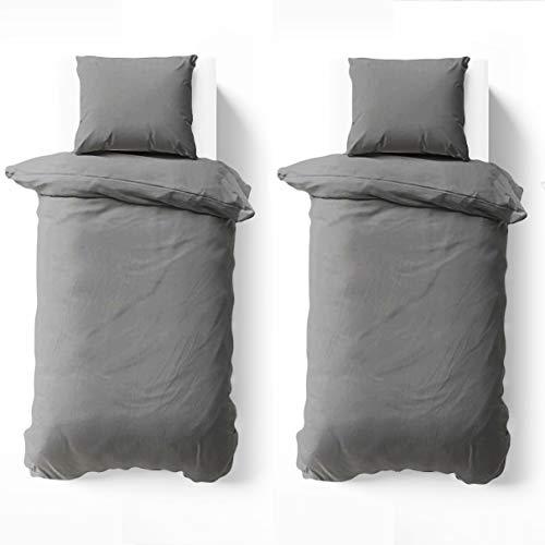 NIERBO Bettwäsche Set 4 teilig, 2 Bettbezug 135x200cm + 2 Kissenbezüge 80x80cm Grau 120g/㎡ Dicker mit Reißverschluss, Hochwertiges Mikrofaser Atmungsaktive