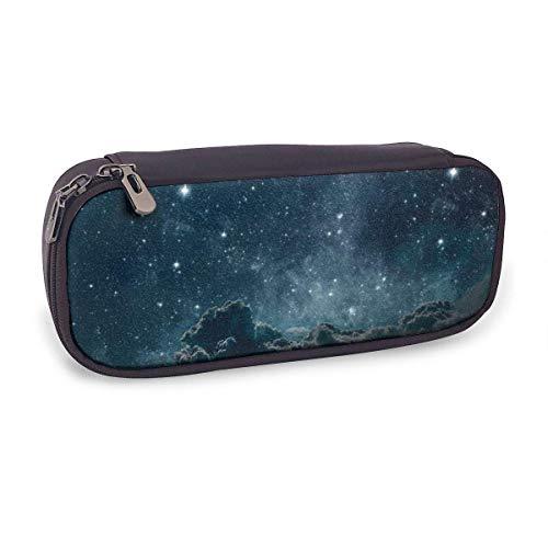 Estuche Escolar de Gran Capacidad,Fondos Cielo Nocturno con Estrellas Y Luna Y Nubes,Bolsa de Lápiz Organizador para Material Papelería con Cremallera Doble