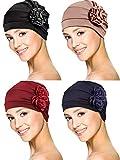 4 Pièces Turban Casquette Écharpe Bonnet Couvre-Chef de Fleur Chapeau Anti-Chute de Cheveux pour Hommes et Femmes