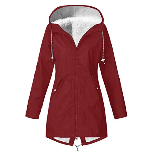 iHENGH Damen Solid Winter Warm Dick Outdoor Plus Size Kapuzenregenmantel Winddicht(A...