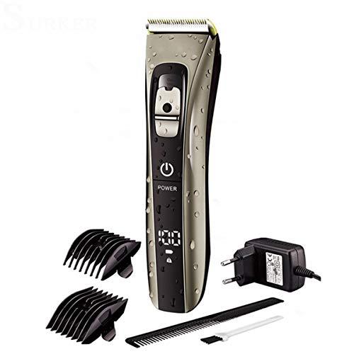 Wasserdichter Haarschneider, Keramik-Titan-Legierung, Klinge für Bart, Haarschneider, LED-Display