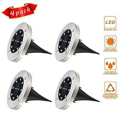 akoboo Solar Ground Lights with 8 LED,4 Pack Outdoor Waterproof Bright Lamps for Garden Landscape Path Deck Yard Patio Driveway Lawn Porch (White)