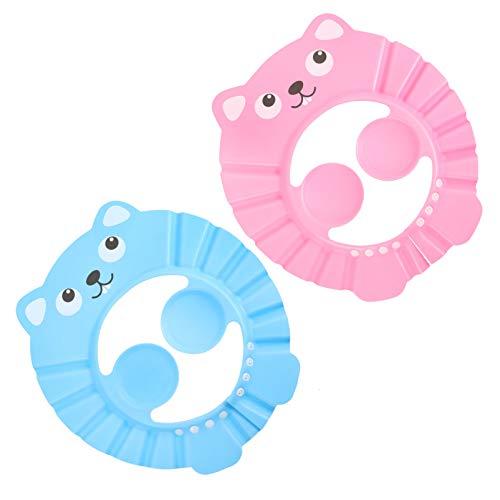 Toddmomy 2 Piezas de Gorros de Baño para Baby Shower Gorro de Baño Ajustable con Visera Gorro de Baño con Protección de Baño para Niños Pequeños Rosa Celeste