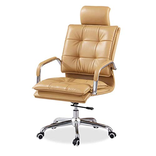 N/Z Daily Equipment Multifunctional Backrest Armchair/Office Chair/Boss Chair Comfortable and Breathable Pu Material Ergonomic Backrest Suitable for Office Study (Brown)