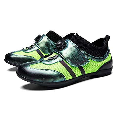 Sebasty Calzado de Ciclismo de Gran Tamaño Sin Bloqueo,Calzado de Ciclismo Calzado de Ciclismo de Montaña Sin Bloqueo de Verano para Hombre,Calzado de Ciclismo de Carretera,Green-40
