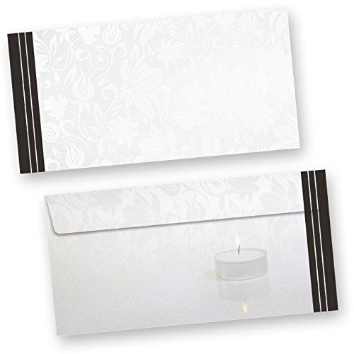 Briefumschläge Trauer (50 Stück ohne Fenster) DIN lang Trauer-Umschläge, Kuverts ohne Fenster für Trauerbriefe und Beileidskarten