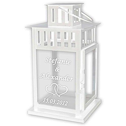 GeschenkeMAXX Laterne mit Textgravur 44 cm zur Hochzeit
