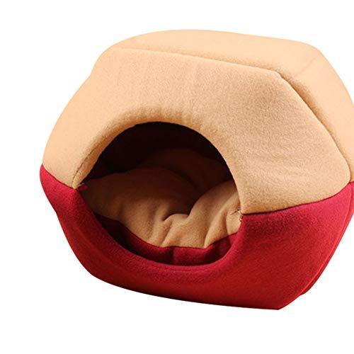 Deusa Winterbett für Katzen und Hunde, faltbar, weich, warm, Haustierzubehör, rot, Large