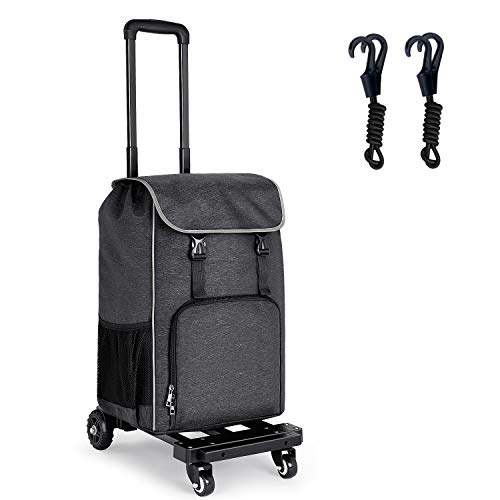 Orange Tech 2 in 1 Folding Shopping Trolley Dolly Cart, 155 lbs Capacity Portable Luggage Cart, Foldable Grocery Cart With Extra Large Removable Backpack, Perfect for Shopping, Travel, Moving, Luggage