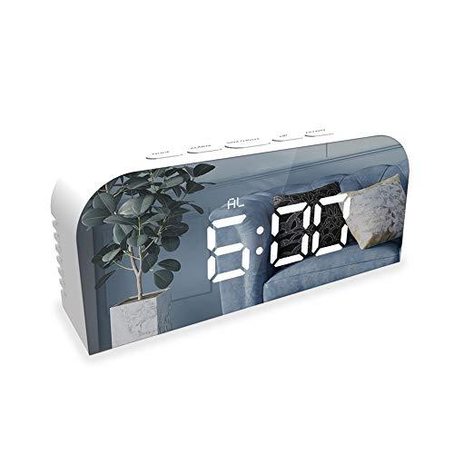 FreeLeben Reloj Despertador Digital, Relojes con Espejo Led De Cabecera, Carga USB...