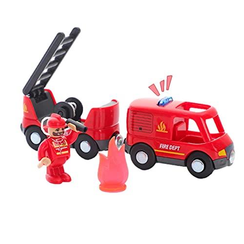 Juguete de tren, camión magnético de tren de bomberos compatible con pista de madera, juguete de tren de policía para niños pequeños y niños en edad preescolar a partir de 12 meses, ideal para regalos