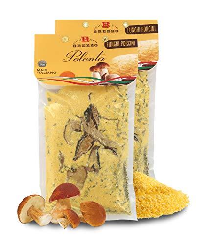Brezzo 2 Confezioni di Farina per Polenta Ai Funghi Porcini, Mais Italiano, Singolo Pacchetto: 300 Grammi